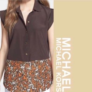 Michael Kors Acid Tangerine & Chocolate Tunic- New